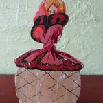 Charming Hand Painted Lady Wood Vintage Hat Stand Display Fur Muff Ballgown