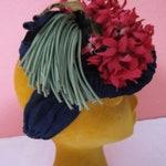 Vintage 1940s Rayon Crepe Snood Scarf Hat Navy Button Silk Flower Nosegay WW2 Fascinator