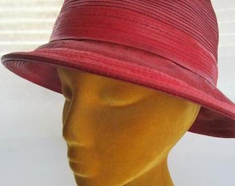 384dff47d2c93 Kokin Red Genuine Corded Leather Trilby Fedora Brim Hat Peaked Crown New  York