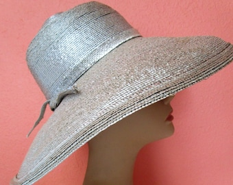 6f212a0b4a7 Gummetal Silver Lurex Frank Olive Neiman Marcus Straw Hat Braid Sun Derby  Church Easter