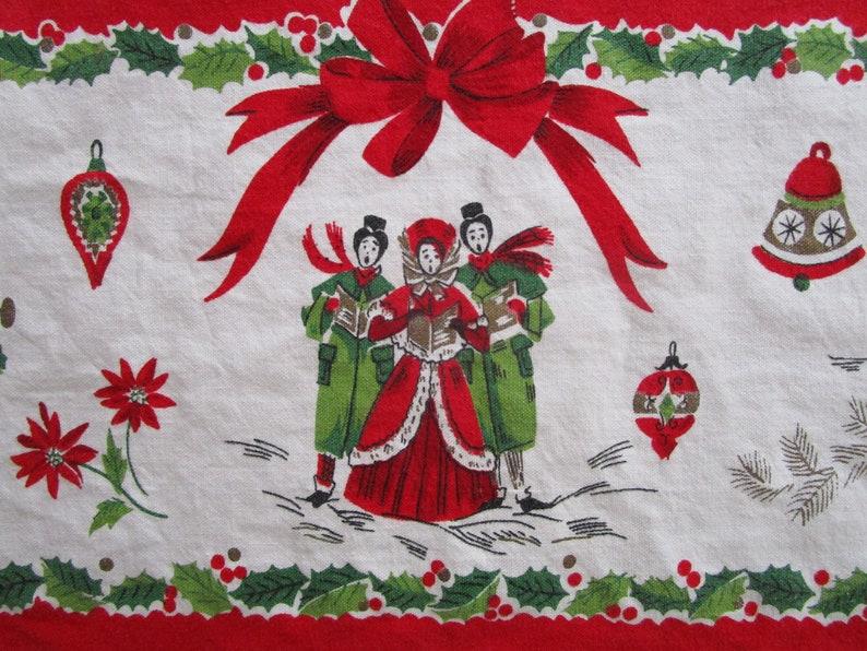 Christmas Secular 1950s Tablecloth 51 x 63 Cotton image 0