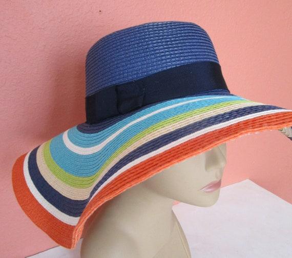 Kate Spade New York Wide Brim Floppy Sunny Hat Stripe Sun  029b06bf8d9