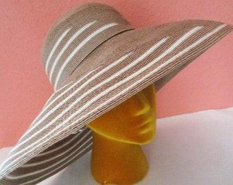 Marzi Italy Striped Tan Beige Straw Hat Neiman Marcus Sun Derby Church Easter