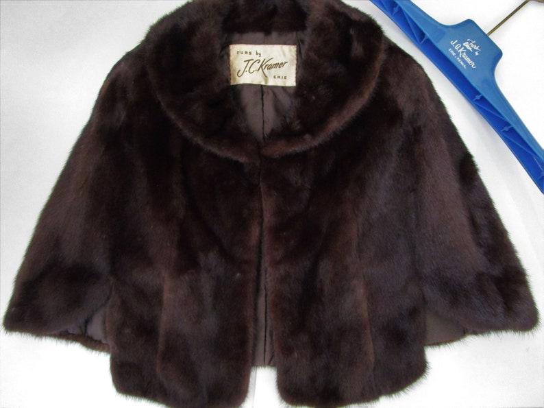M Mid Century Mink Fur Cape Wrap Stole Shrug Vintage Mahogany image 0