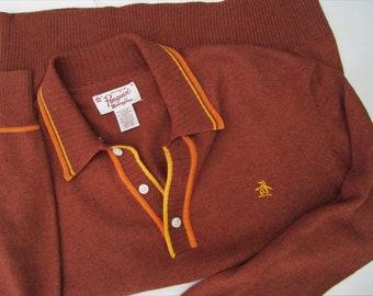 M Retro Penguin CASHMERE COTTON Polo Collar Shirt Rust Stripes Munsingwear