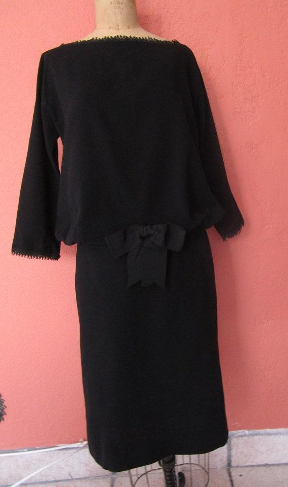 38d7c62343b S 50s 60s Audrey Little Black Dress Wool Crepe Dropwaist