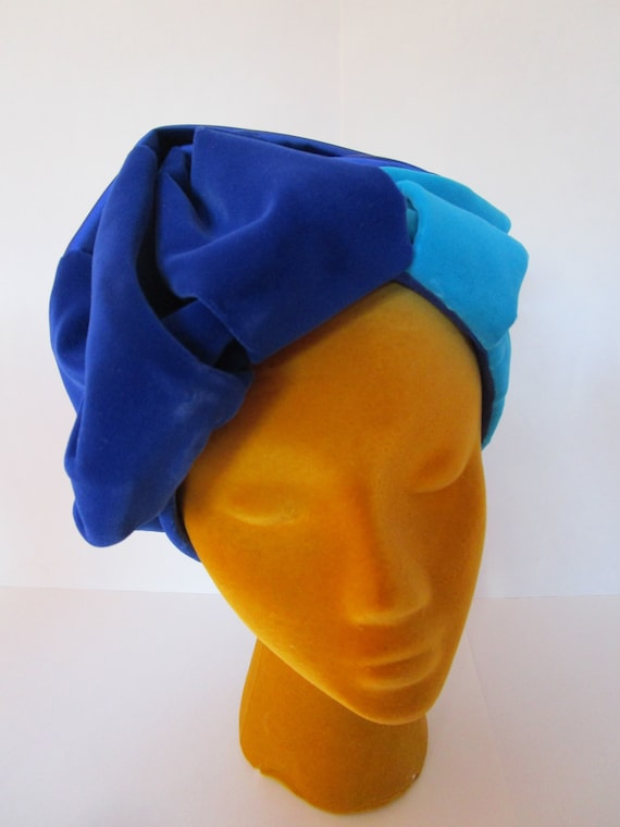 Draped 1950s Two Toned Blue Turban Hat Christine P