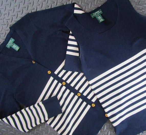 69447791e3 Petite P-S Ralph Lauren Silk Twin Sweater Set Nautical Navy