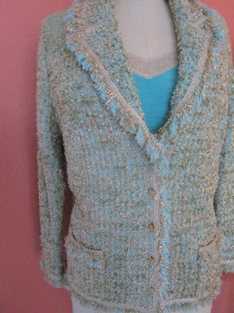 b3c4751c50 Sz42-12 Escada Cardigan Chenille Knit Sweater Jacket Set