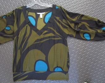 sz 14 Chic Diane Von Furstenberg Silk Tunic Abstract Print V Neck Banded Stretch