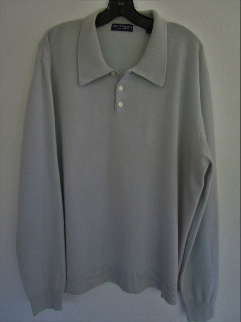 2XL XXL CASHMERE Mens Blue Gray Polo Collar Pullover Sweater image 0