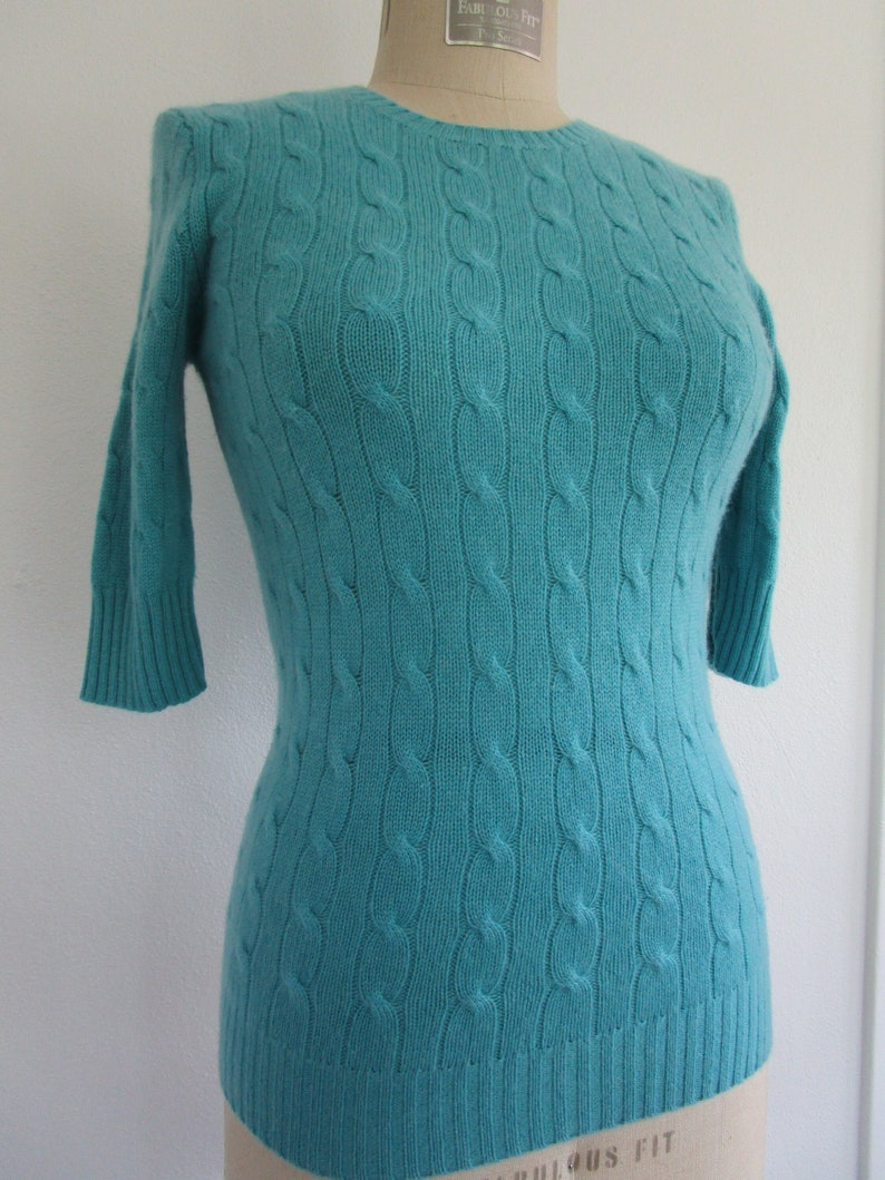 M Ralph Lauren CASHMERE Cable Pullover Knit Sweater Teal Blue image 0