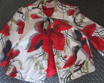 M Authentic 40s/50s Barkcloth Hip Swing Jacket Mid Century 3/4 Bell Sleeve