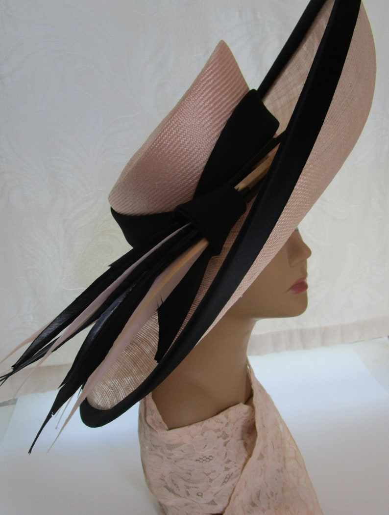 Philip Somerville London Peach Pink Straw Hat Exquisite image 0