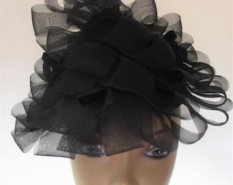 Cone Percher Hat Vintage 1950s Sheer Black Loopy Horsehair Darcel Exclusive