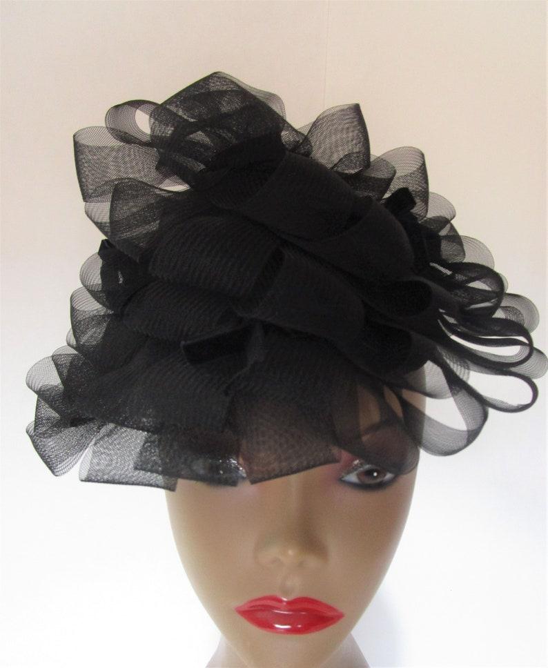 Cone Percher Hat Vintage 1950s Sheer Black Loopy Horsehair image 0