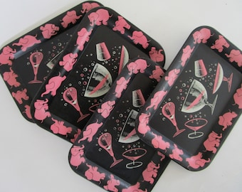 4 Pink Elephant Cocktail Glasses Black Metal Trays Bubbles Stackable