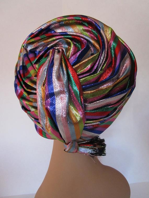 Don Anderson Multicolor Lurex Stripe Turban Hat Jo
