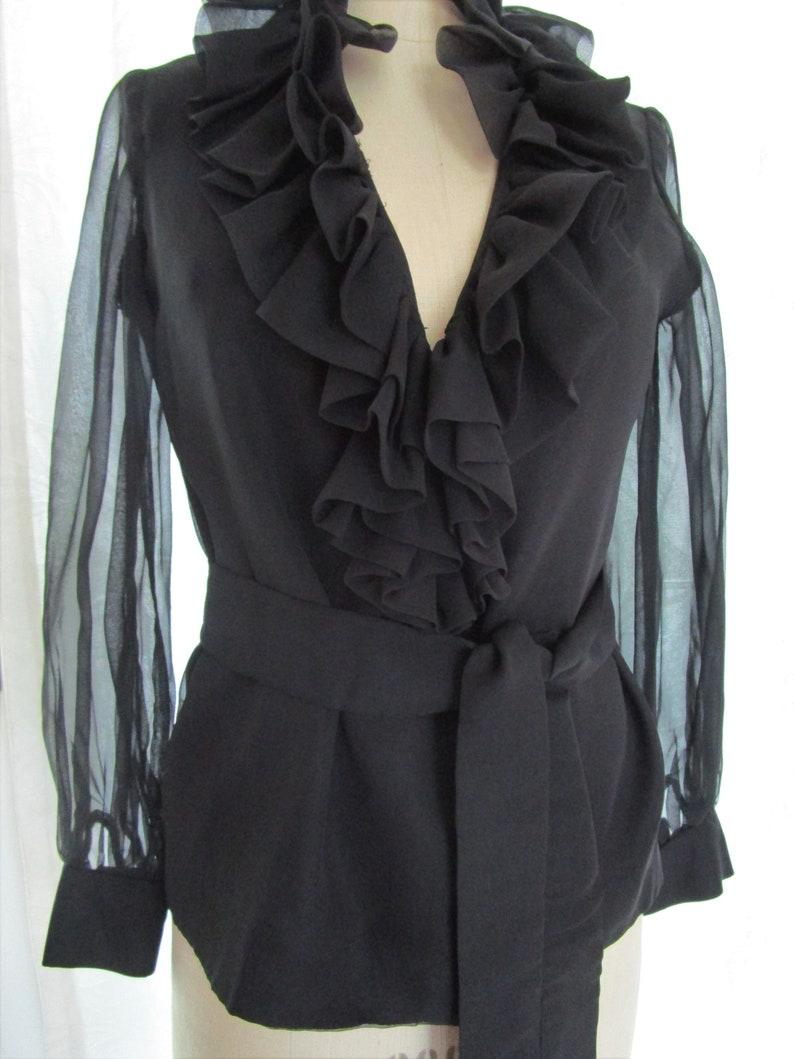 M Black Silk Sheer Tunic Blouse Top Elegant Ruffles Sash Belt image 0