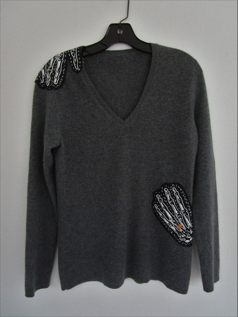 M Goth Skeleton Hands CASHMERE Pullover Knit Sweater Charcoal image 0