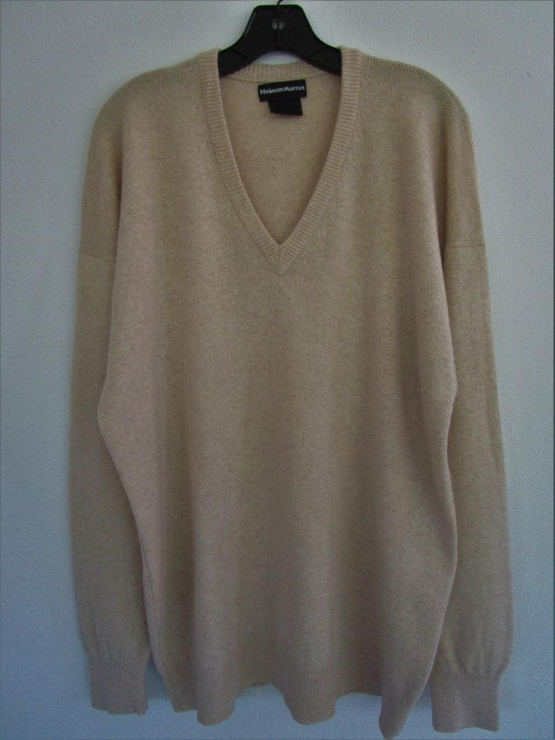 L Mens Thick CASHMERE V Neck Pullover Sweater Khaki Tan image 0