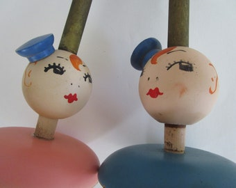 2 Wooden Hat Stands Kewpie Faces Painted Figural Pair Millinery Bauhaus Decor