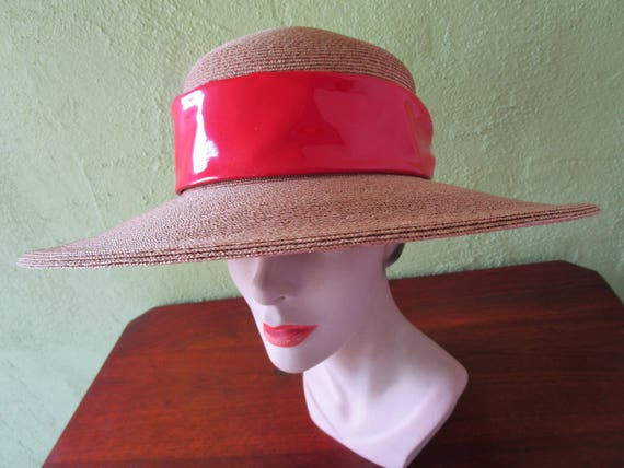 37cb46c3ce47a Frank Olive Natural Straw Hat Red Patent Leather Band Private