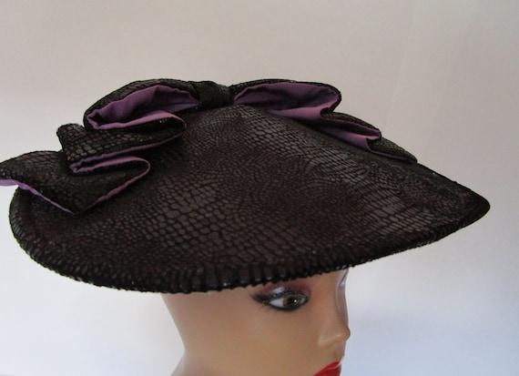 John Koch Percher Hat Black Purple Silk Textured S