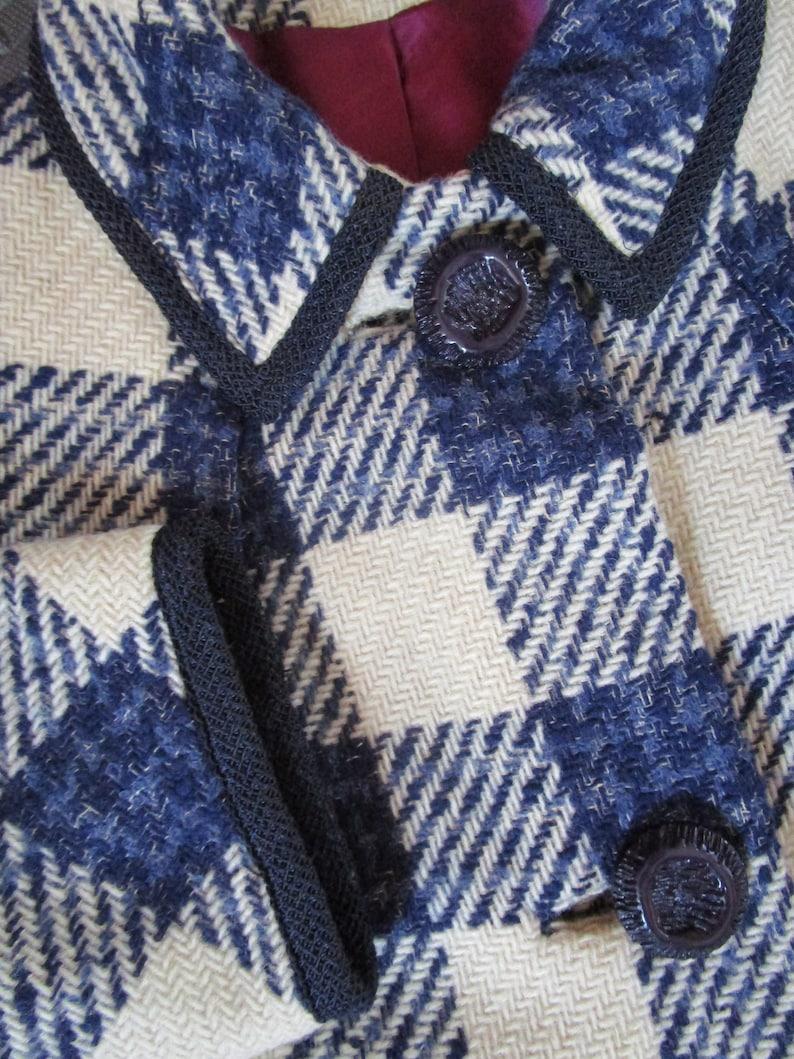 L XL Buffalo Check Herringbone Wool Coat Jacket Vintage 1950s image 0