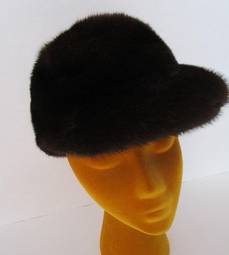 Chocolate Mink Fur Don Anderson Flat Visor Hat Cap Horsewoman image 0