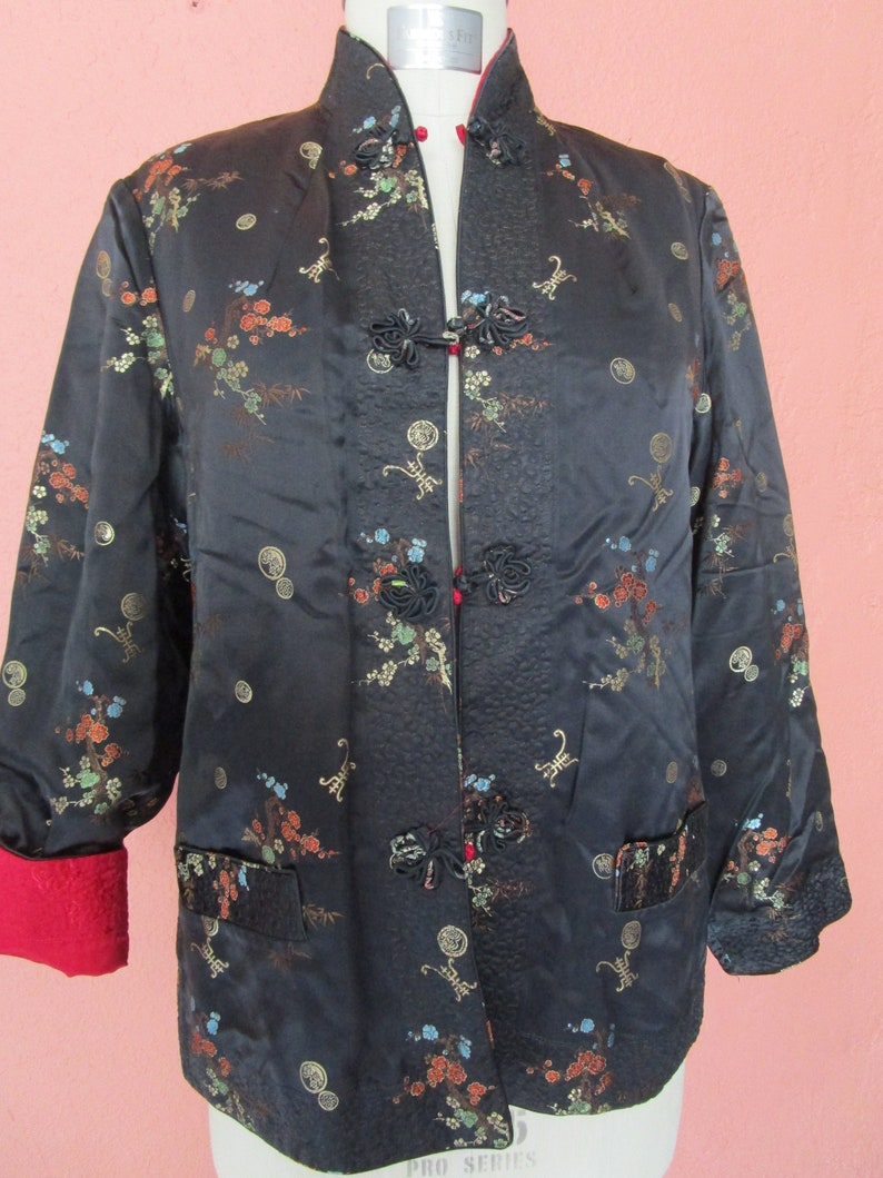 ca37ff495 L Chinese Reversible Jacket Coat Frogs Black Red Satin Bamboo   Etsy