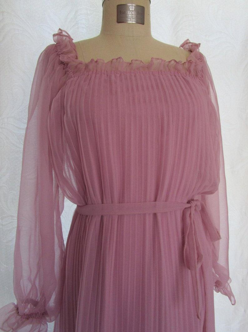 M Sheer Off Shoulder Peasant Pleated Dress Pat Richards Saks image 0