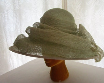 Genevieve Louis Nigel Raymond Sinamay Straw Hat Pale Celery Green Derby Church Easter Special Occasion