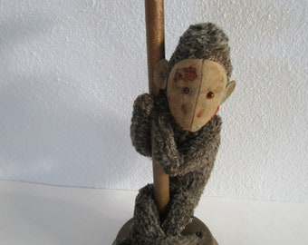 Fuzzy Monkey Wooden Hat Stand Painted Straw Millinery Decor