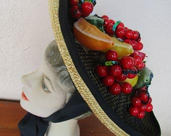 Kitchy Kokin Fruit Basket Hat Cherry Natural Straw 40s 50s Retro Rockabilly