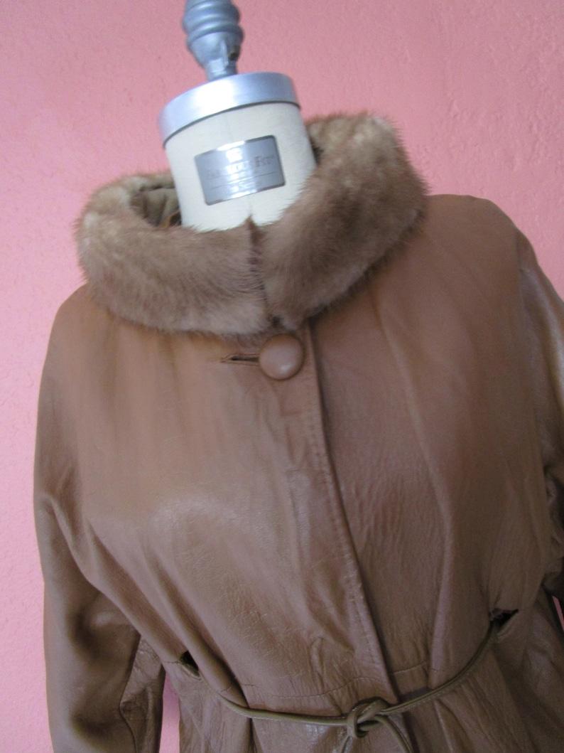 M Mid Century 60s Mink Fur Saddle Tan Leather Belted Coat High image 0