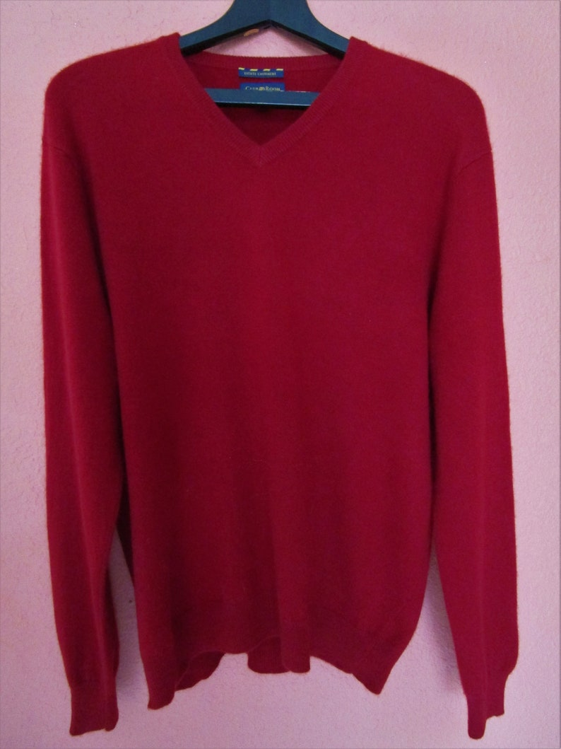 XL Mens Macys Classic Cashmere V Neck Pullover Sweater Red image 0