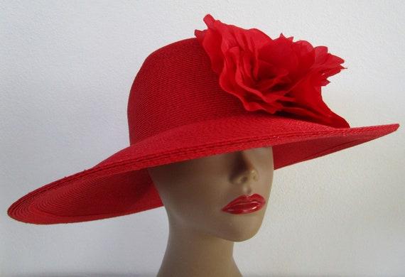 Patricia Underwood Red Wide Brim Hat Silk Flower … - image 3