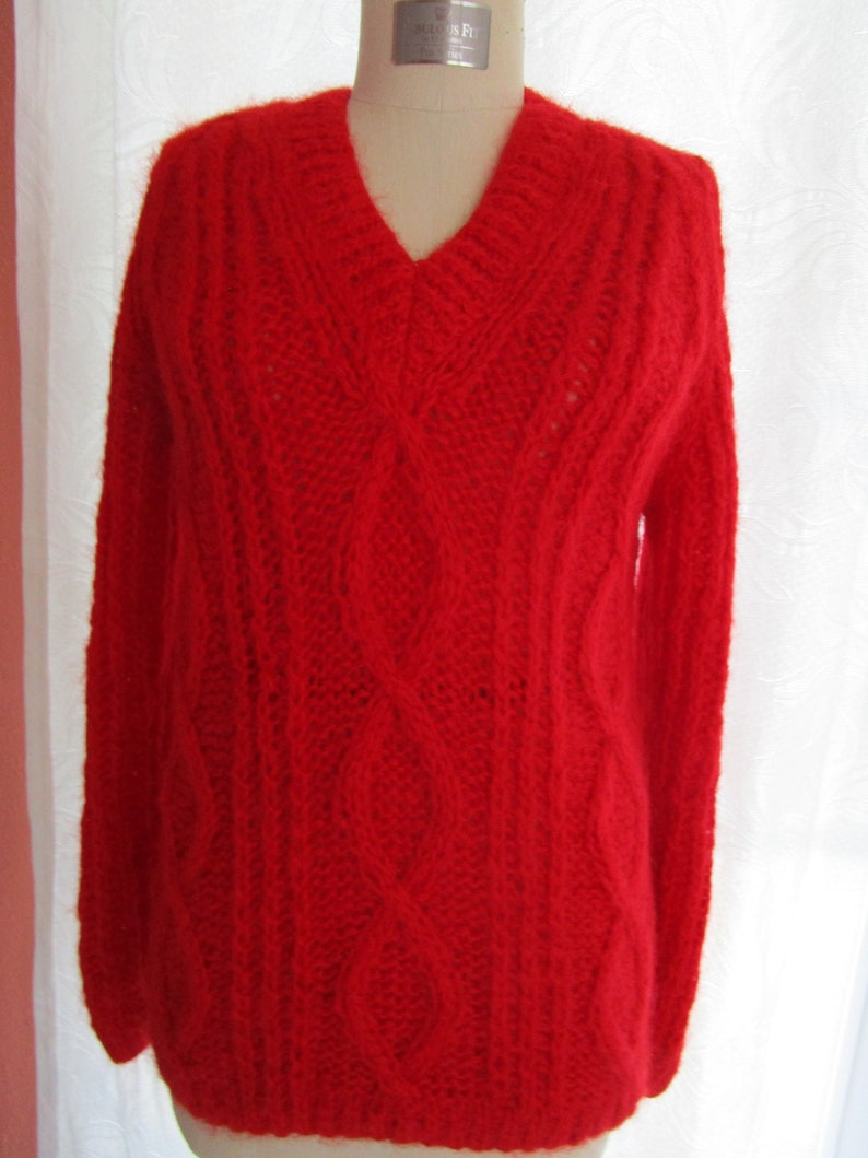 M L Red Mohair Oversized Cable Pullover Knit Sweater V Neck image 0