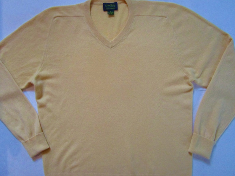 XL Mens Macys Classic Cashmere V Neck Pullover Sweater Sunny image 0