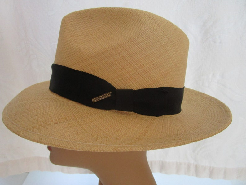 Stetson Unisex Mens Straw Fedora Trilby 7-3/8 Crease Crown Cap image 0
