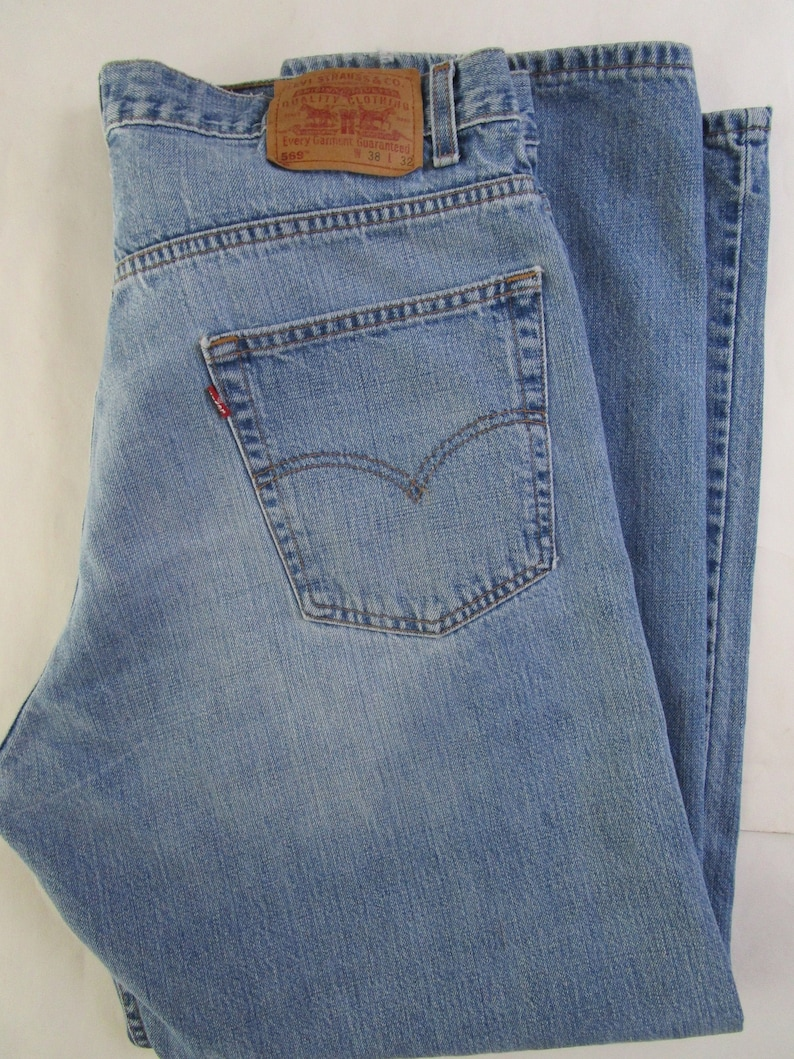 Mens 569 Loose Straight Levis Jeans 38 X 32 Washed Faded Blue image 0