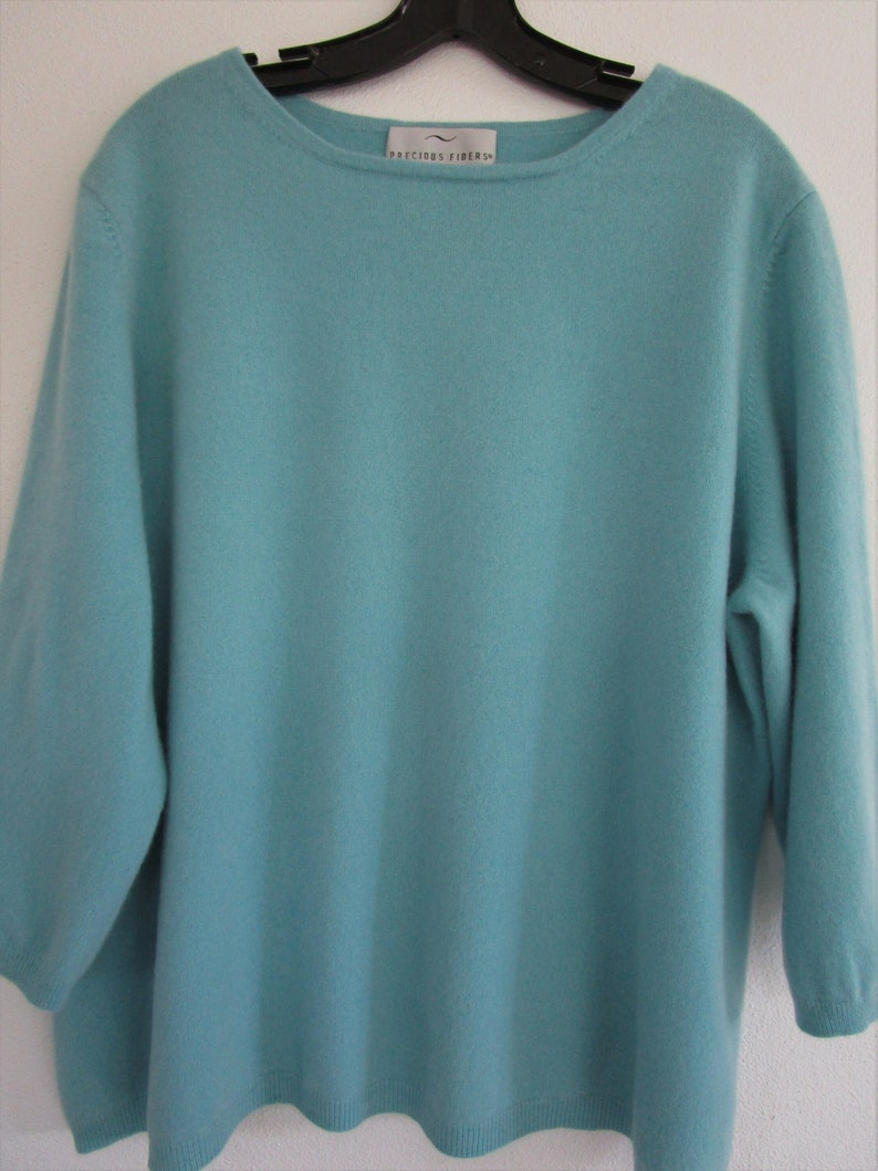 3X Volup CASHMERE Knit Sweater Pullover Cuddly Sky Blue image 0