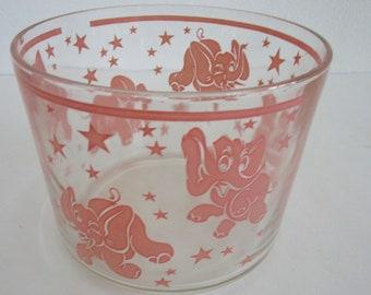 Pink Elephant Stars Ice Tub Bucket Cocktail Barware Hazel Atlas