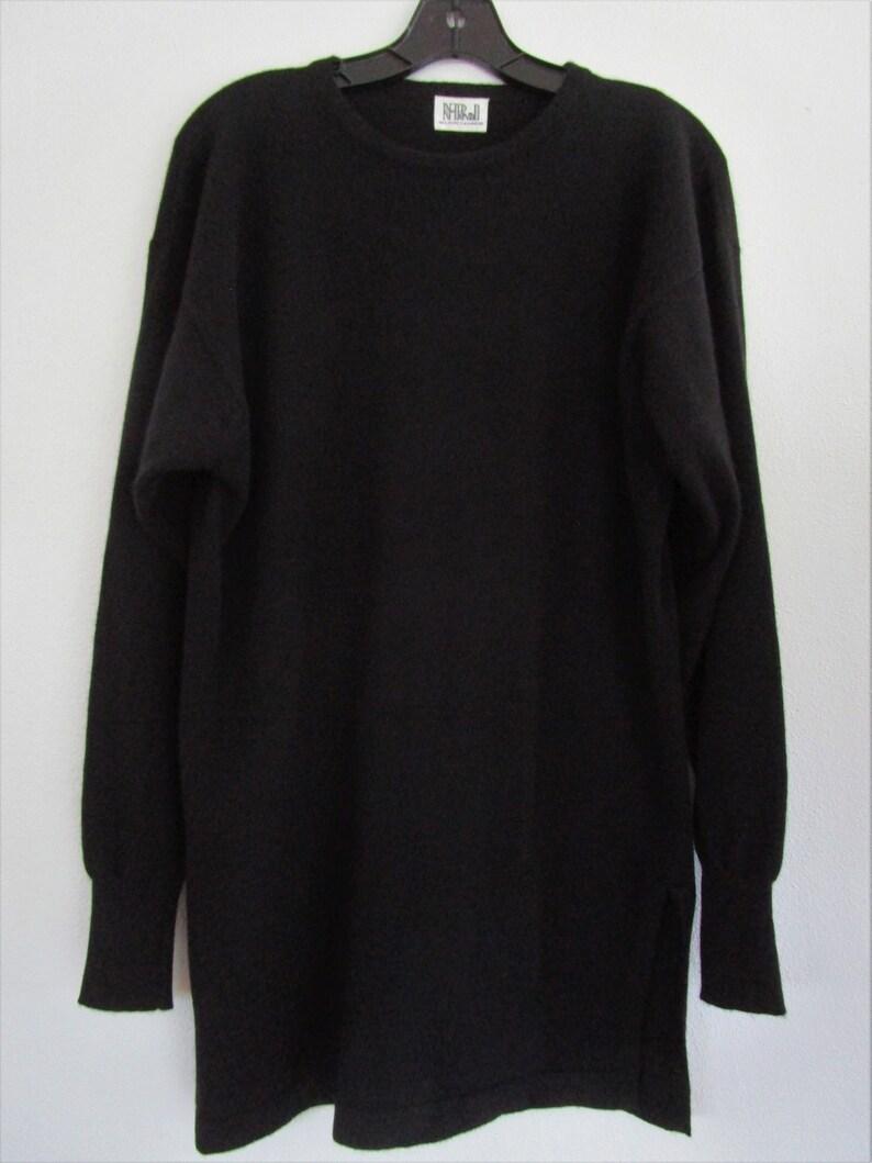 M Scottish CASHMERE Oversized Tunic Pullover Knit Sweater image 0