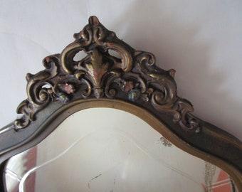 Beveled Antique Vintage Cast Plaster Relief Chalkware Hall Wall Mirror 1930s Era