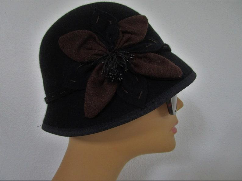 Scala Pronto Wool Felt Cloche Hat Black Brown Flower Applique image 0