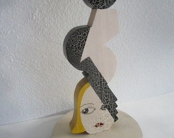 Crackled Wooden Hat Stand Painted Figural Blonde Geometric Cubist Bauhaus Millinery Decor