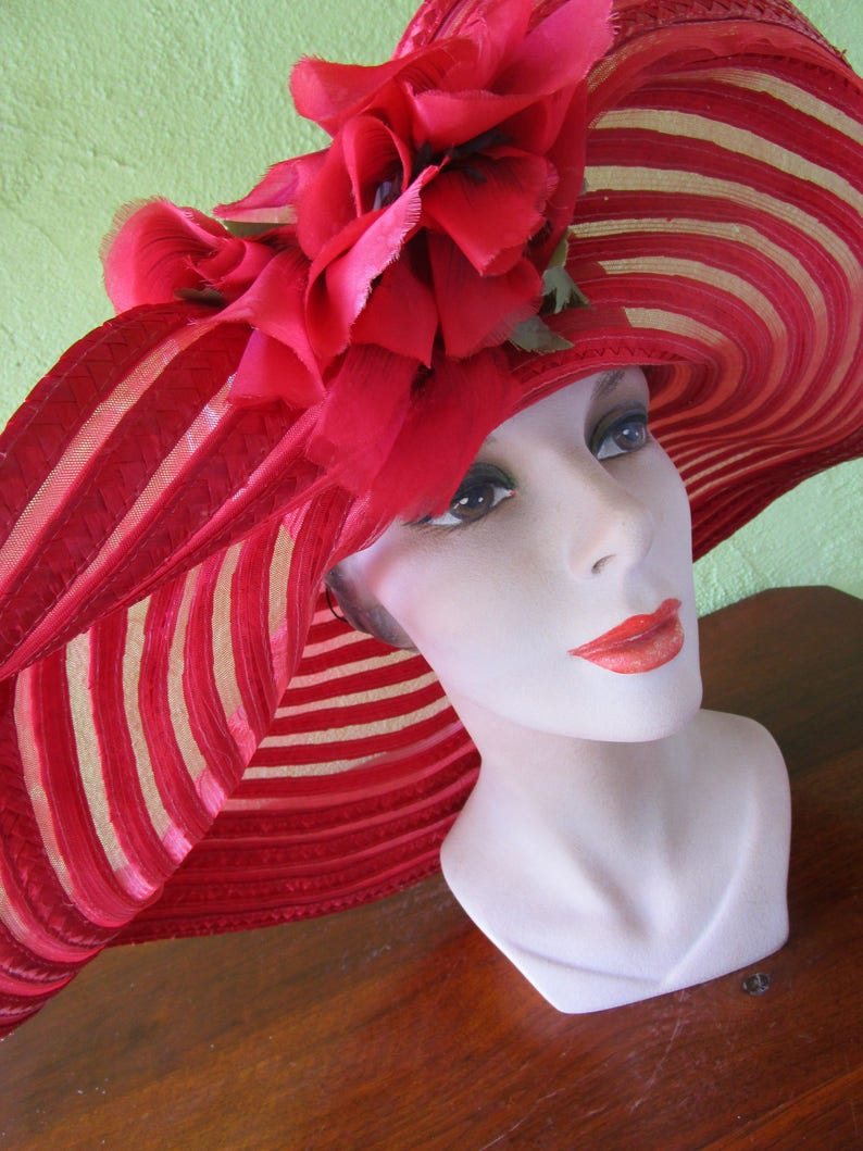 6cb0f2f8 Sheer Red Curvy Scallop Brim Braid Sun Shade Hat Satin Red | Etsy