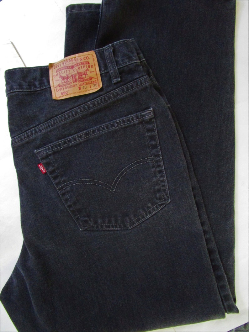 Mens 550 Levis Jeans 40 X 30 Black Denim Laundered Relaxed image 0